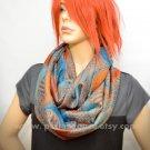 Pashmina Infinity scarf - Orange Blue Paisley scarf