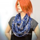 Pashmina Infinity scarf - Blue Gold Paisley scarf