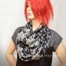 Pashmina Infinity scarf - Black Silver Gray Paisley scarf