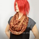 Pashmina Infinity scarf - Rust Copper Gold Paisley scarf