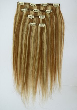"100% Virgin Human Hair Clip in 16"" straight (#4 & #22)"