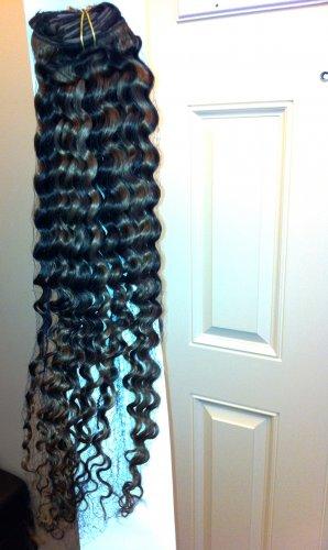 24 inches, Brazilian VIRGIN human Hair CLIP IN (mixed color #4 & #27
