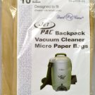 Jet Pac Backpack Vacuum Cleaner Bags 14-2405-05