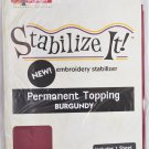 STABALIZE IT EMBROIDERY STABALIZER.  PERMANENT TOPPING BURGUNDY 1YD ADS-PT14