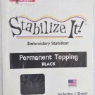 STABALIZE IT EMBROIDERY STABALIZER.  PERMANENT TOPPING BLACK 1YD ADS-PT17