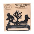 Classic Motifs Boy & Sled 4 Inch Charcoal Split Bottom Craft Holder with Magnet