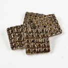 Square Ceramic Buttons Handmade Brown Textured Pottery Buttons