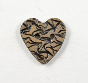 Ceramic Heart Buttons Handmade Textured Pottery Sewing & Craft Buttons