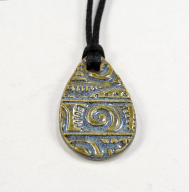 Ceramic Pendant Teardrop Necklace with Black Satin Cord Pottery Jewelry Blue by Seagrapes Studio