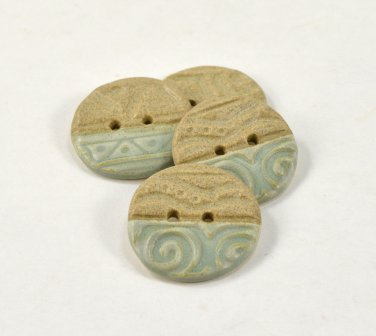 Ceramic Buttons Handmade Tan & Sage Green Pottery Buttons by Seagrapes Studio