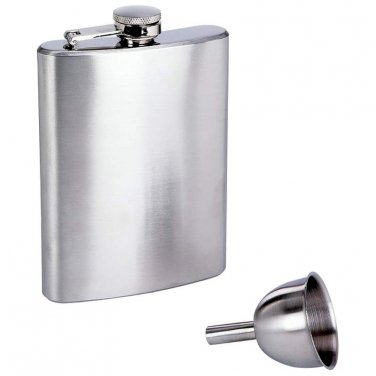 Maxam® 8oz Stainless Steel Flask and Funnel in Window Gift Box - KTFLASK8WB - FREE SHIPPING!