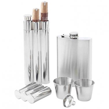 flask / Maxam® 5pc Stainless Steel Flask Gift Set - KTFLK5 - FREE SHIPPING!