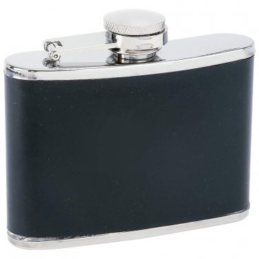 flask / Maxam® 4oz Stainless Steel Flask with Black Wrap - KTFLKBW4 - FREE SHIPPING!