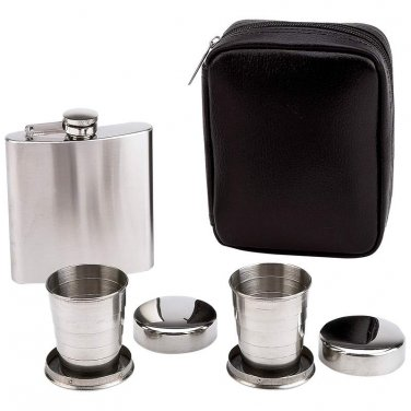 flasks / Maxam® 4pc Flask and Collapsible Cups Set - KTFLSKCP - FREE SHIPPING!
