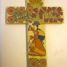 Panel painting - Cross with Weaver -12x8&quot;
