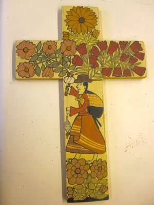 """Panel painting - Cross with Weaver -12x8"""""""