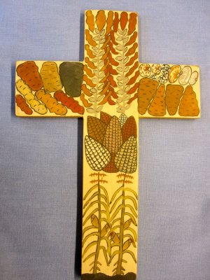 """Panel painting - Cross with Corn and Potatoes -12x8"""""""