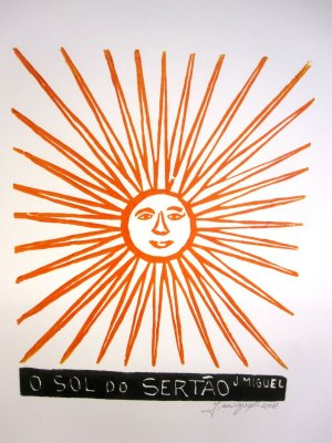 Woodblock print - The Sun of the Northeast- 13x19""