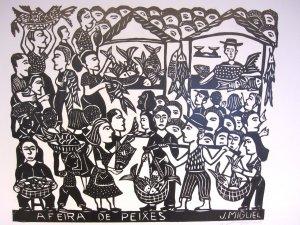 """Woodblock print - The Fish Market - 26x19"""""""