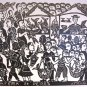 Woodblock print - The Fish Market - 26x19""