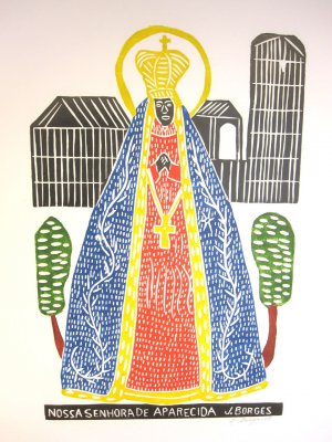 "Woodblock print - Our Lady of Aparecida - 26x19"""
