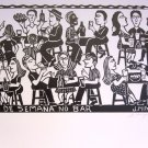 Woodblock print - Weekends at the Bar - 26x19&quot;
