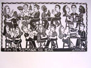 """Woodblock print - Weekends at the Bar - 26x19"""""""