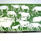 Woodblock print - Cows on a Green Field- 26x19&quot;