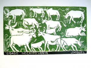 Woodblock print - Cows on a Green Field- 26x19""