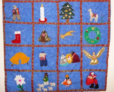 "Peruvian Wall Hanging - Christmas Images - Cuadro - 17""X19"""