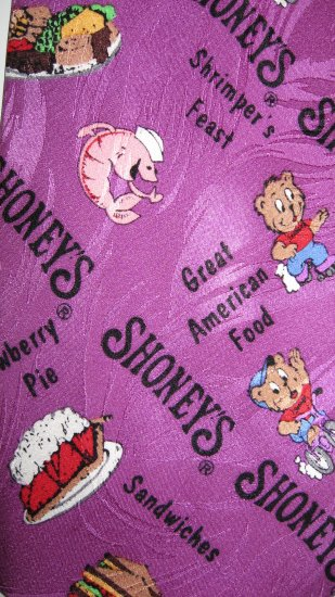 Pantry Squares purple Shoney's 100% Silk necktie