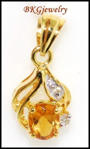 Unique Diamond Citrine Pendant 18K Yellow Gold Gemstone [P0062]
