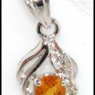 18K White Gold Citrine Pendant Gemstone Diamond Jewelry [P0061]