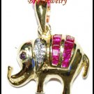 Gemstone Ruby 14K Yellow Gold Diamond Elephant Pendant [P_149]