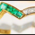 18K Yellow Gold Emerald Diamond Jewelry Gemstone Ring [R0053]