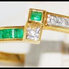 Genuine Diamond Gemstone Emerald 18K Yellow Gold Ring [R0051]