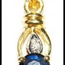Blue Sapphire Pendant Solitaire Diamond 18K Yellow Gold [P0133]