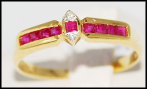 18K Yellow Gold Genuine Diamond and Ruby Ring [R0029]