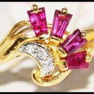 Three For Men Red Ruby Diamond Ring 18K Yellow Gold [R0092]
