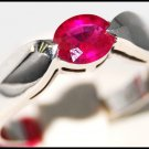 Genuine Ruby Gemstone 14K White Gold Solitaire Ring [RR046]