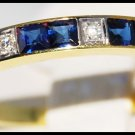 Diamond Blue Sapphire Eternity 18K Yellow Gold Band Ring [R0025]