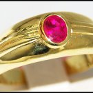 14K Yellow Gold Wedding Gemstone Solitaire Ruby Ring [RR051]