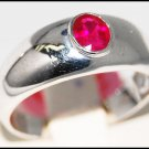 Wedding 14K White Gold Ruby Solitaire Gemstone Ring [RR061]