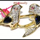 Natural Diamond 14K Yellow Gold Blue Sapphire Bird Brooch/Pin [I_027]