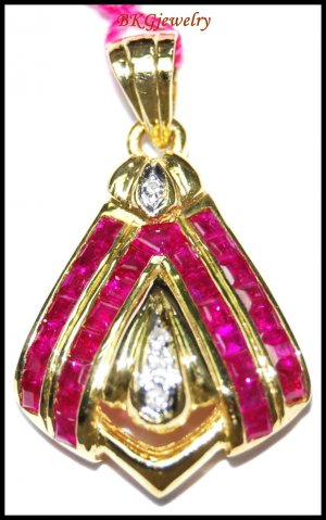 Natural Diamond Pendant 14K Yellow Gold Ruby Gemstone [P_163]