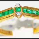 Emerald Genuine Gemstone 18K Yellow Gold Diamond Ring [R0030]