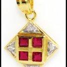 18K Yellow Gold Eternity Gemstone Diamond Ruby Pendant [P0093]