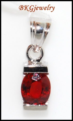 Unique Ruby Gemstone Solitaire Pendant 18K White Gold [P0044]