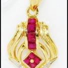 Eternity Gemstone Ruby Diamond Pendant 18K Yellow Gold [P0102]