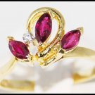 Flower Marquise Ruby and Diamond Ring 18K Yellow Gold [R0052]